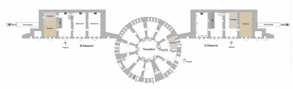 Plattegrond B-C en Torenfort (Middel)